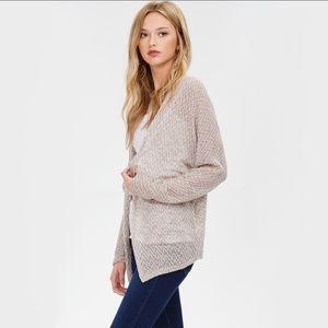 Sweaters - Sweater Knit Cardigan - Mocha/Cream